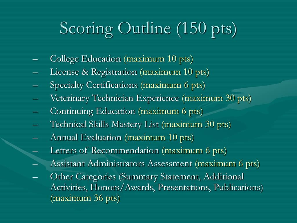 Scoring Outline (150 pts)
