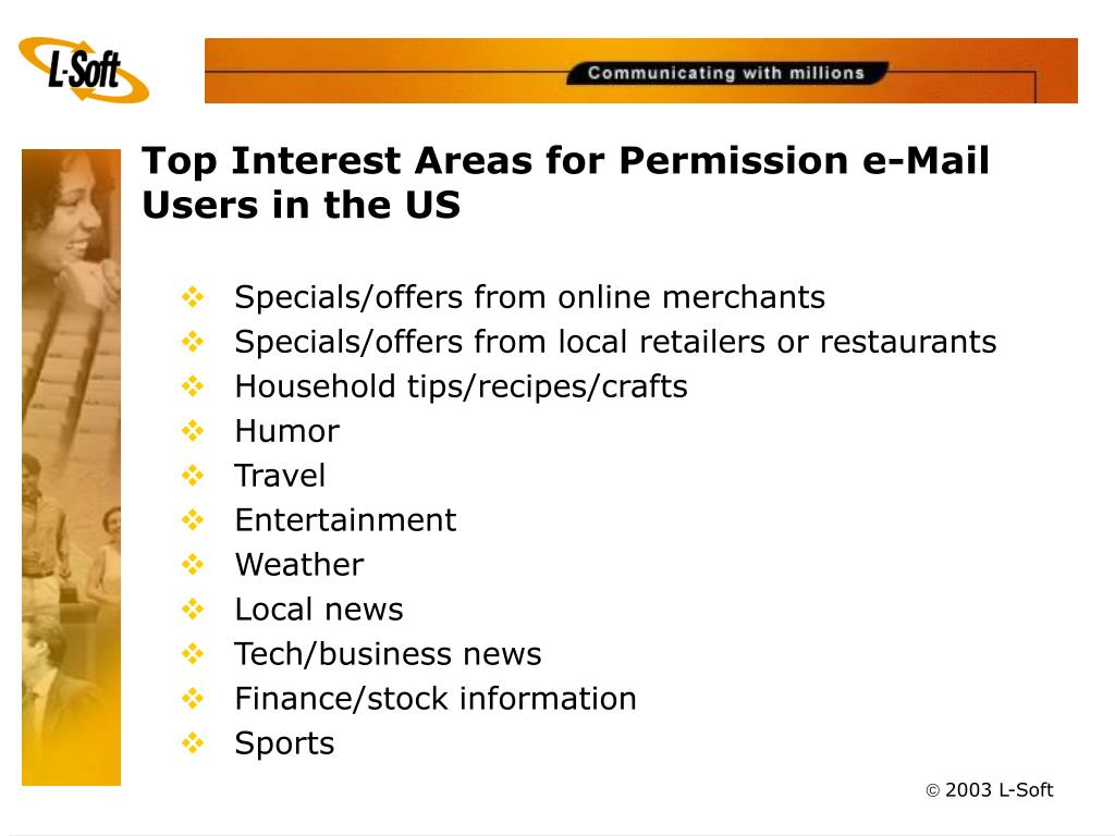 Top Interest Areas for Permission e-Mail Users in the US
