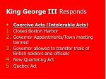 king george iii responds