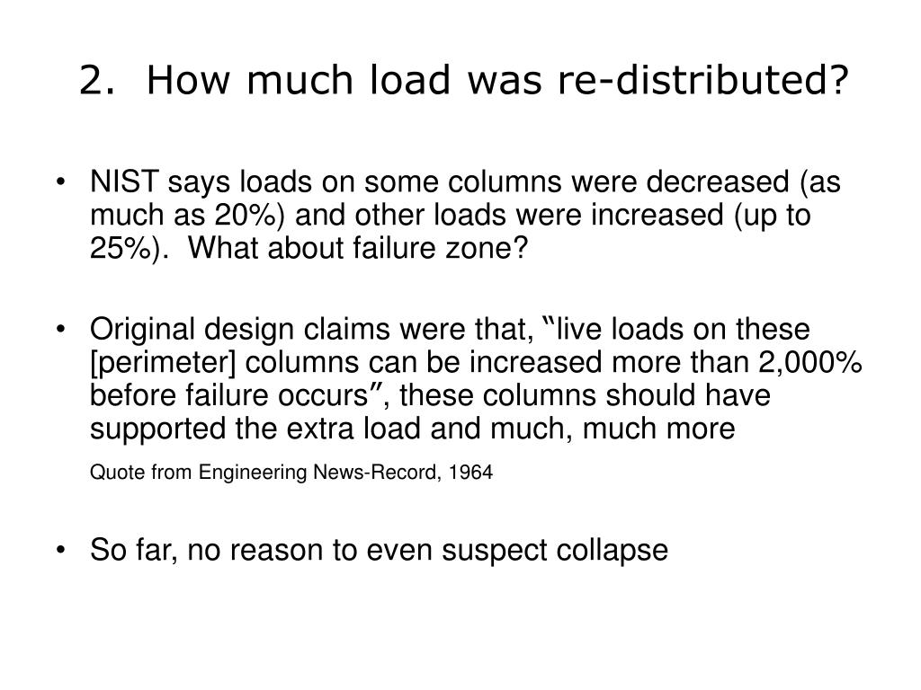 2.  How much load was re-distributed?