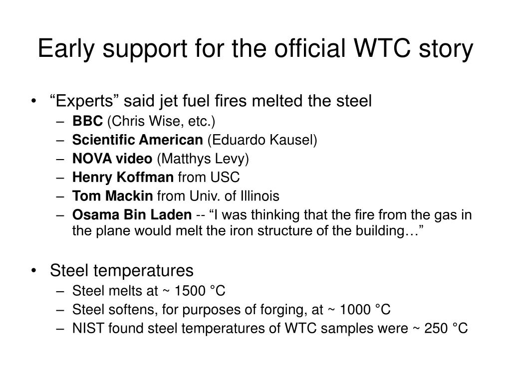 Early support for the official WTC story