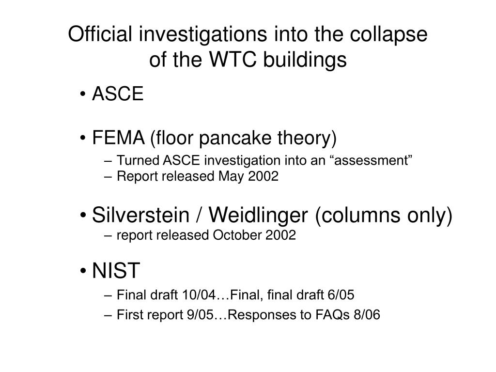 Official investigations into the collapse