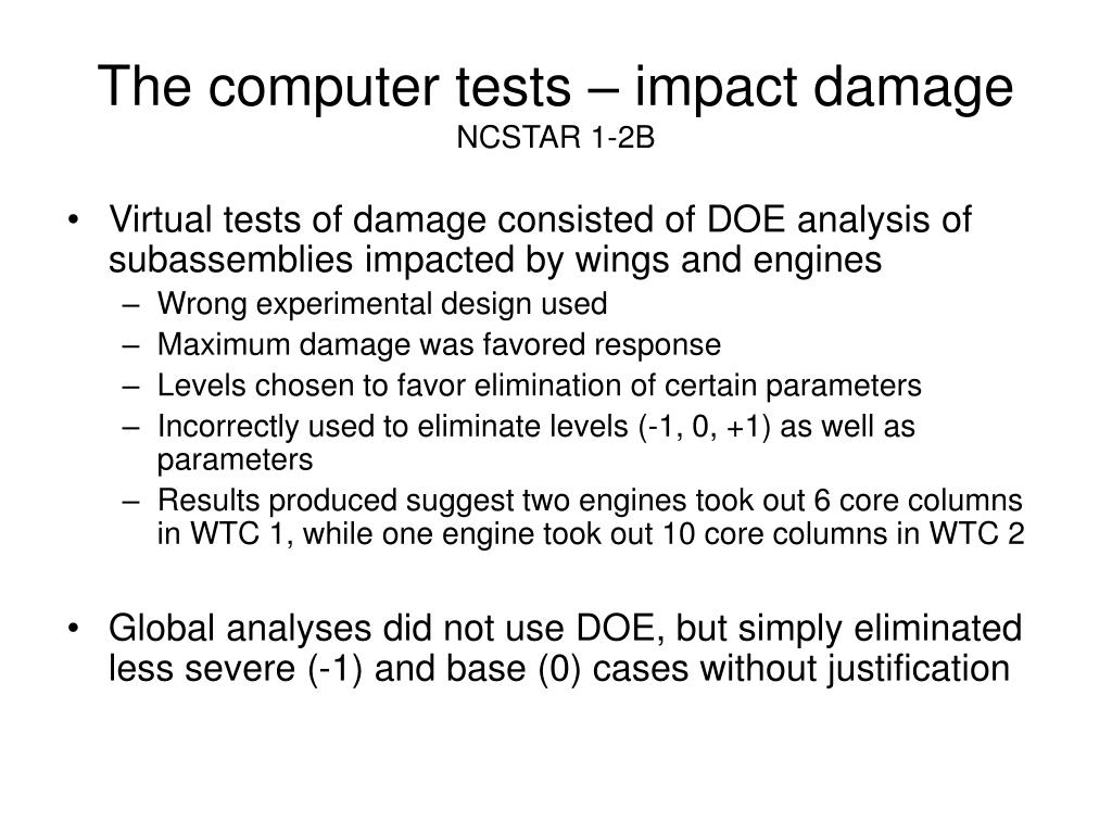 The computer tests – impact damage