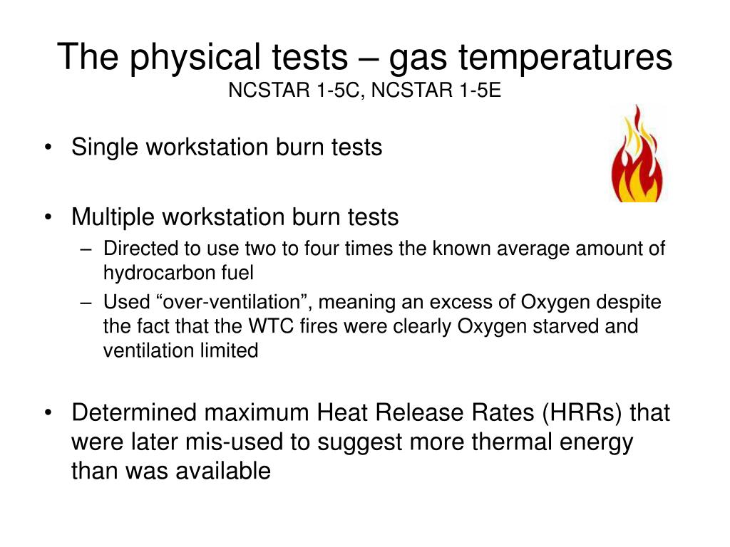 The physical tests – gas temperatures
