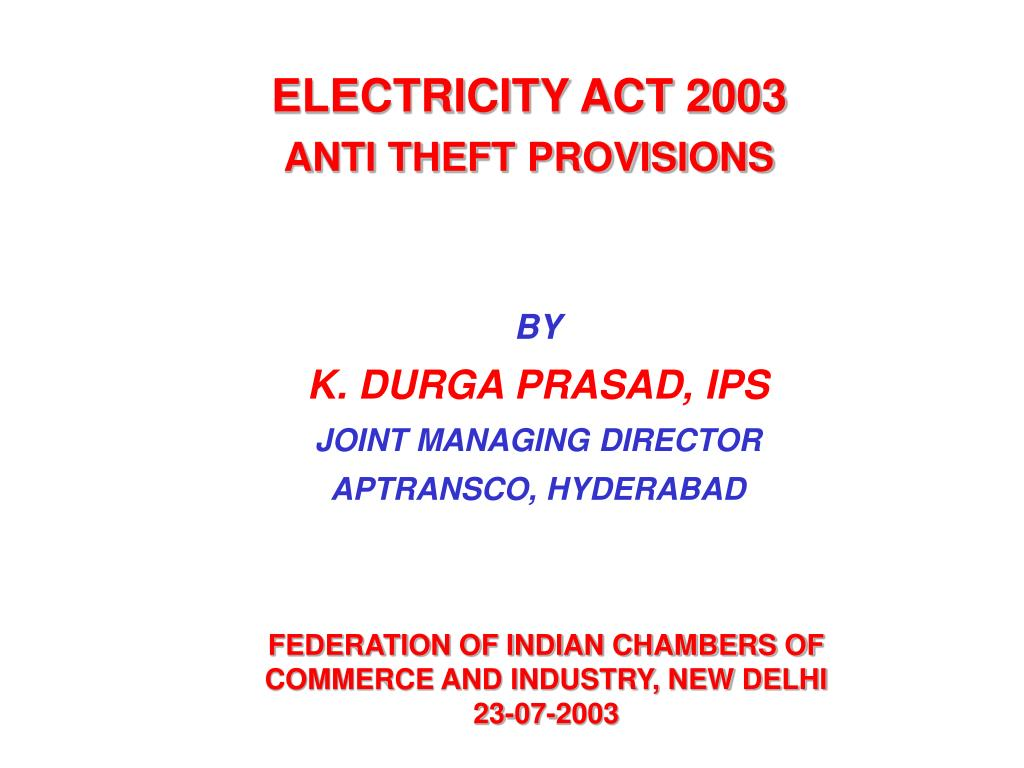 electricity act 2003 anti theft provisions l.