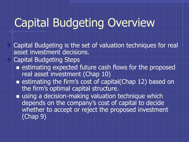 capital budgeting overview n.
