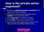how is the private sector organised