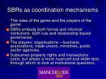 sbrs as coordination mechanisms