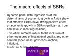 the macro effects of sbrs