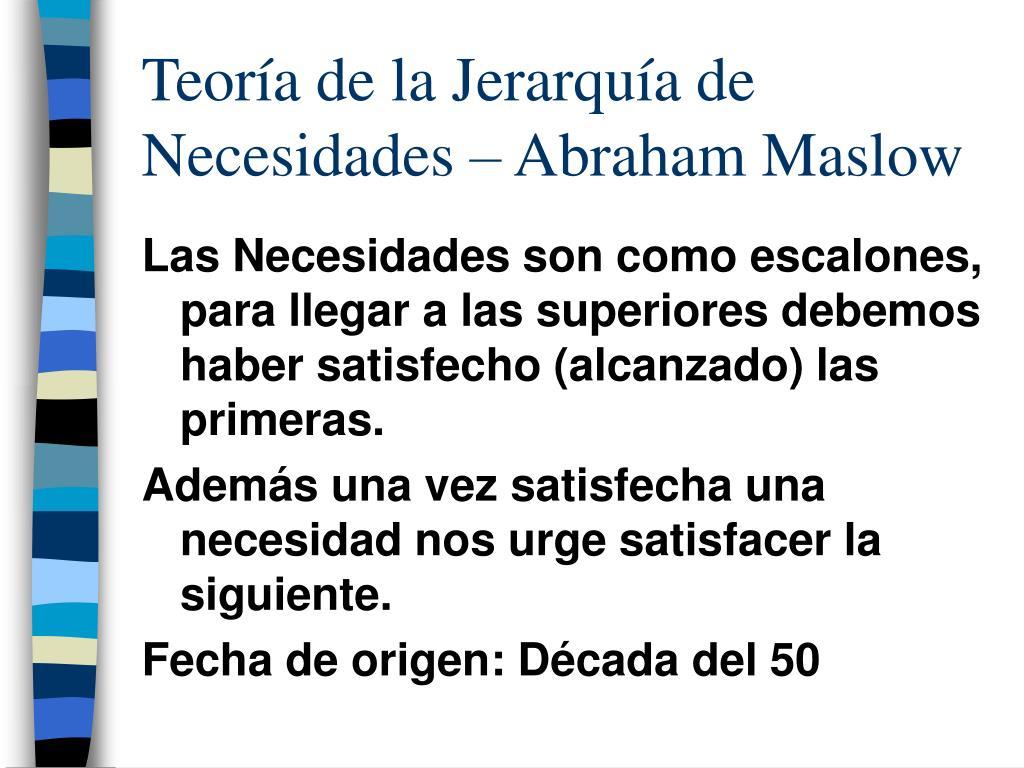 Teoría de la Jerarquía de Necesidades – Abraham Maslow