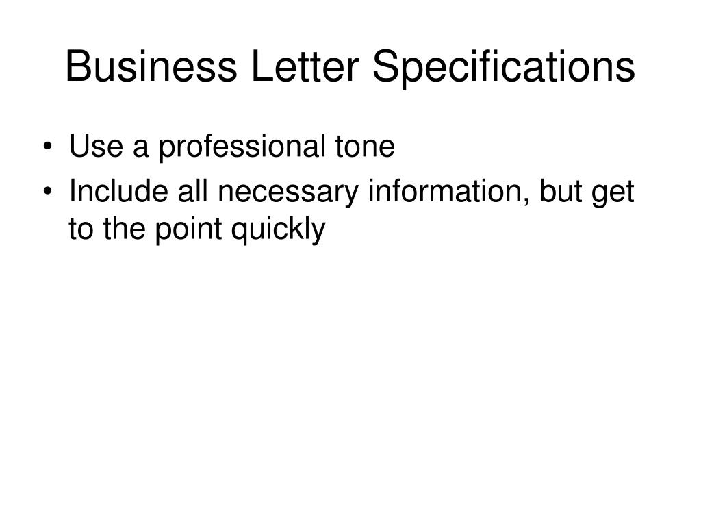 Business Letter Specifications