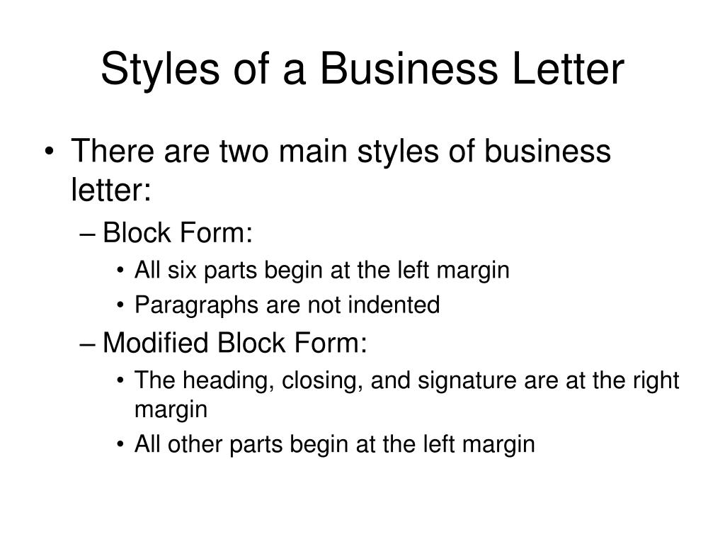 Styles of a Business Letter