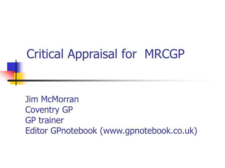 critical appraisal for mrcgp n.