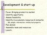 development start up