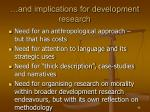 and implications for development research