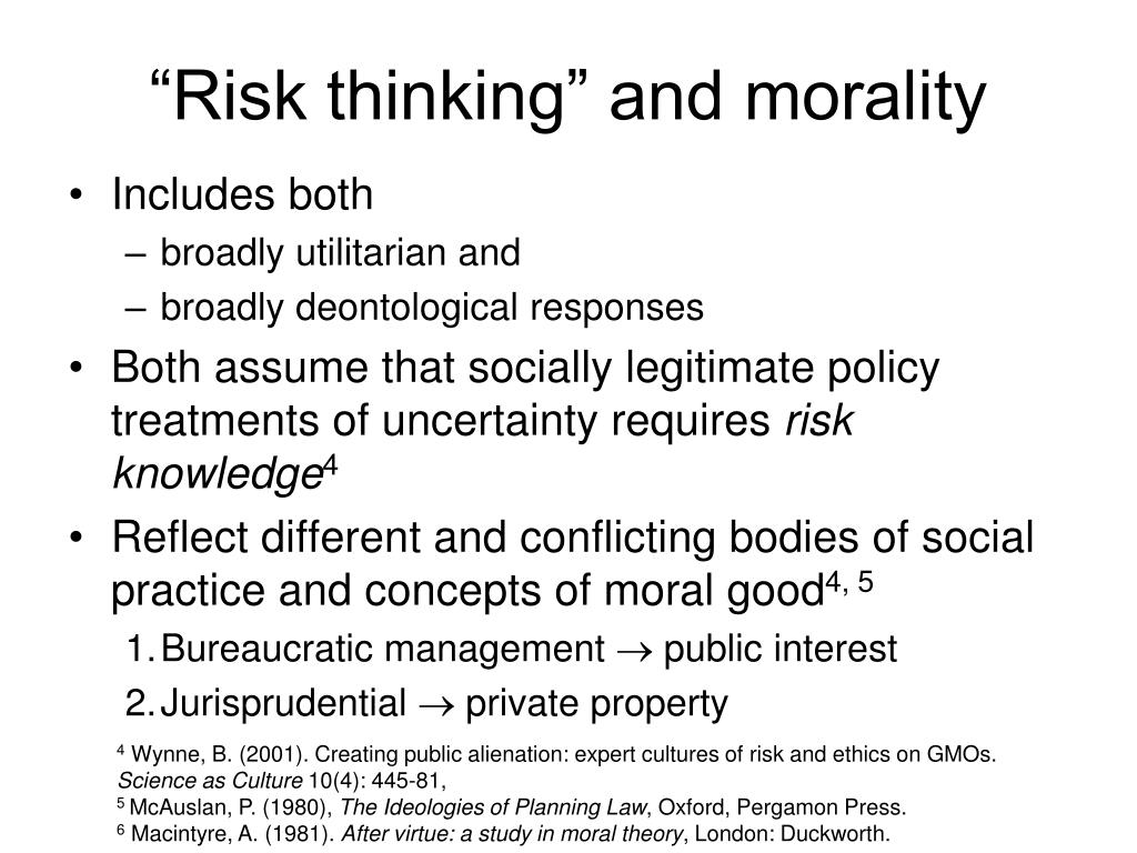 """Risk thinking"" and morality"