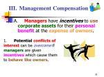 iii management compensation