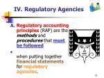 iv regulatory agencies