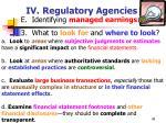 iv regulatory agencies49