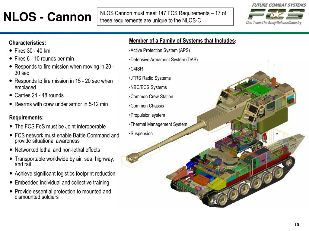 NLOS Cannon must meet 147 FCS Requirements – 17 of these requirements are unique to the NLOS-C
