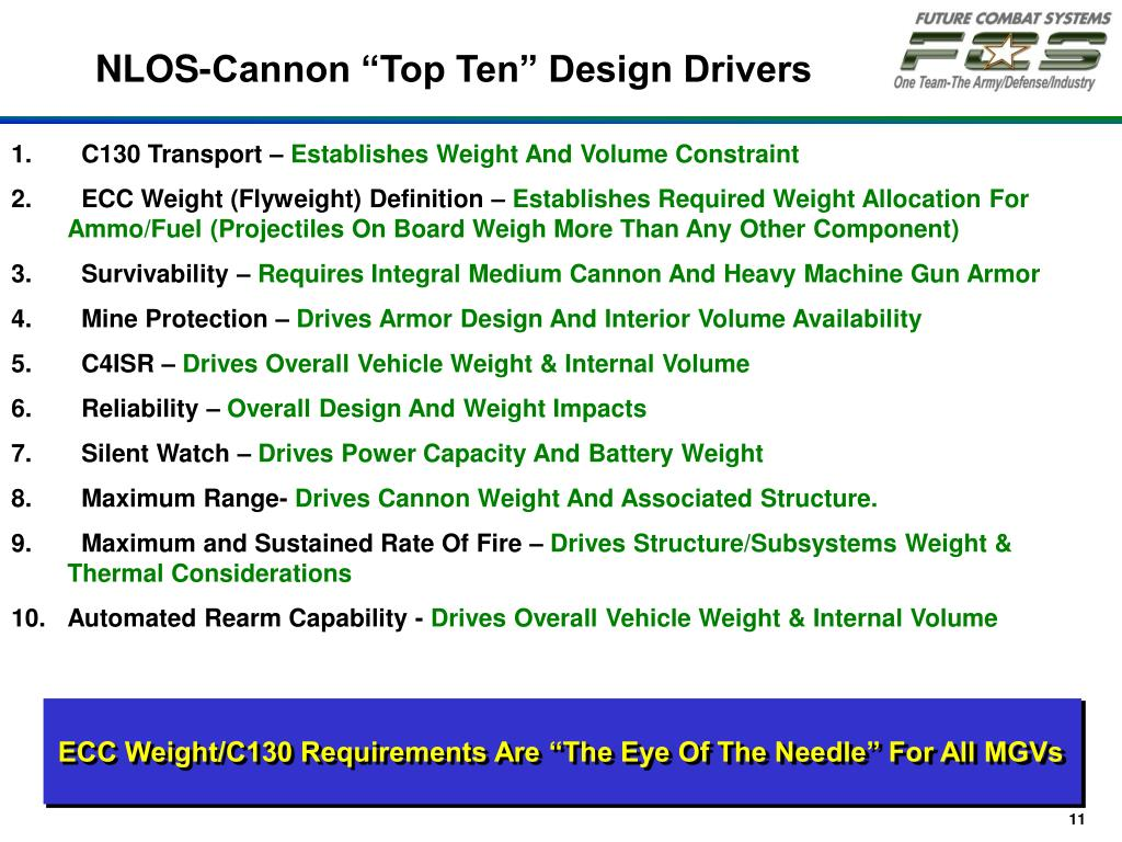 "ECC Weight/C130 Requirements Are ""The Eye Of The Needle"" For All MGVs"