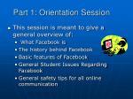 part 1 orientation session