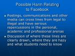 possible harm relating to facebook