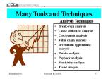 many tools and techniques