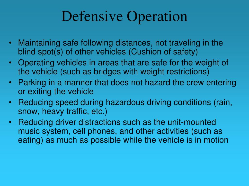 Defensive Operation