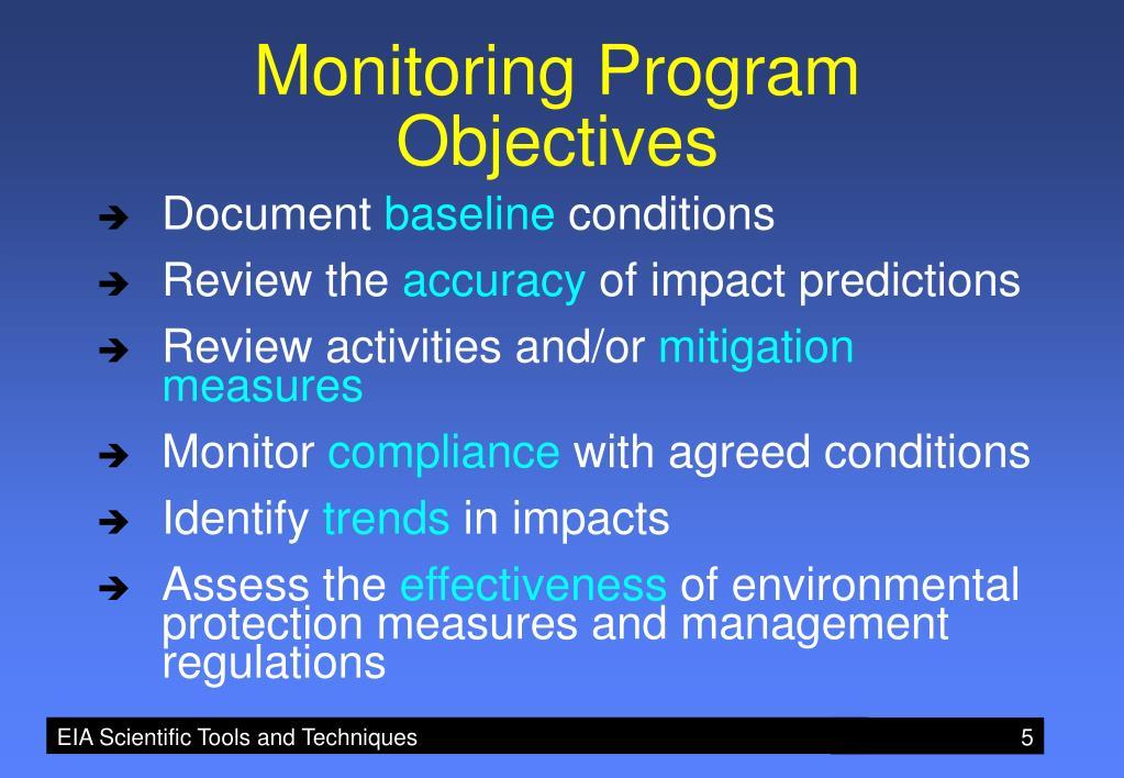 Monitoring Program Objectives