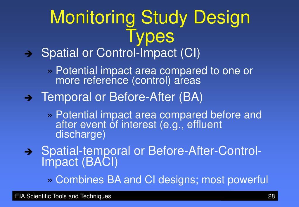 Monitoring Study Design Types