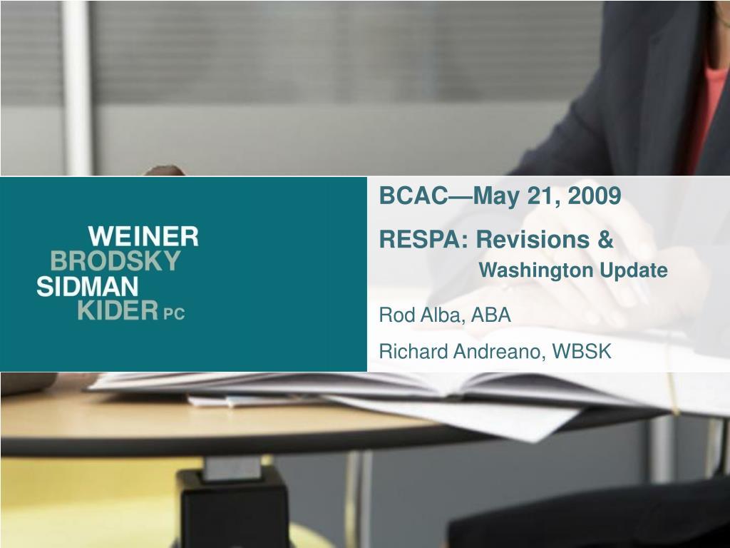 BCAC—May 21, 2009