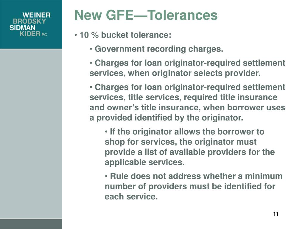 New GFE—Tolerances