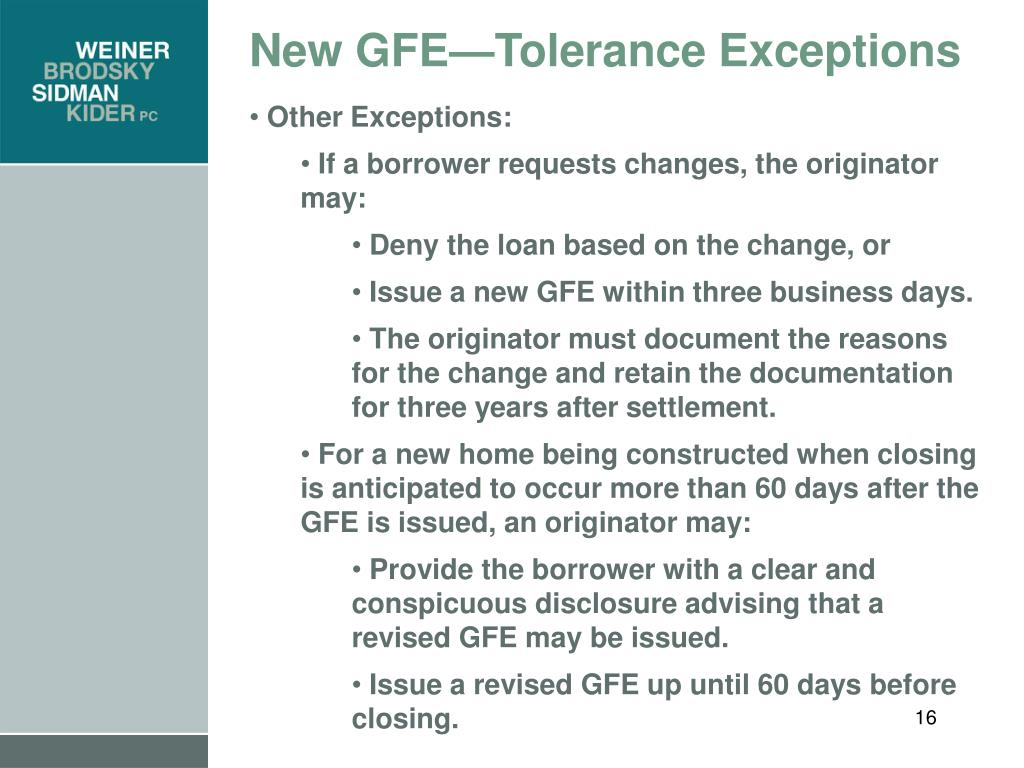 New GFE—Tolerance Exceptions