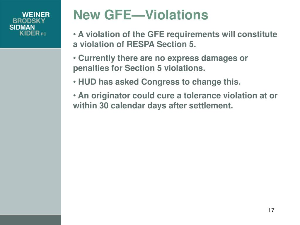 New GFE—Violations