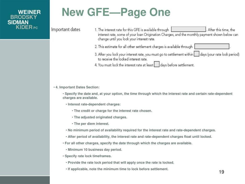 New GFE—Page One