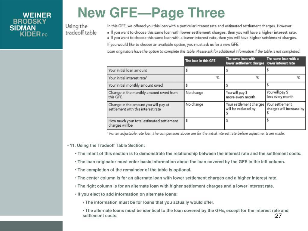 New GFE—Page Three