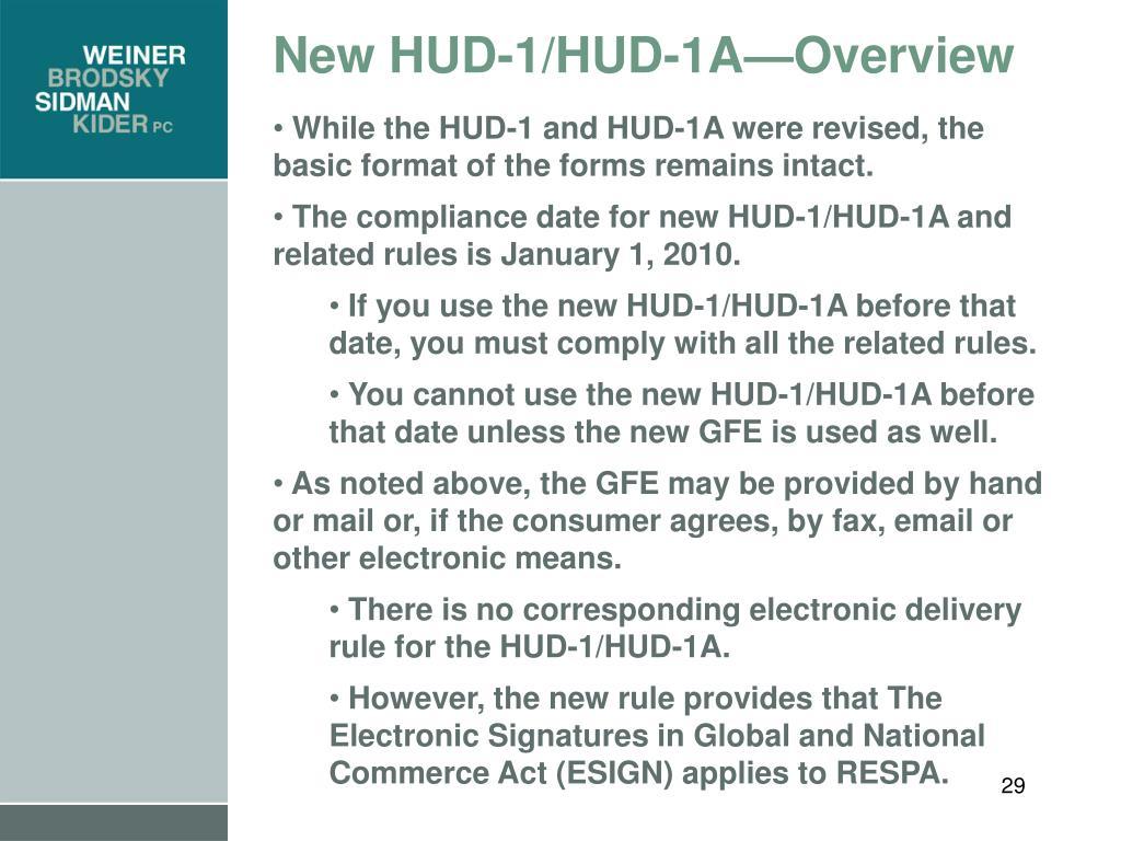 New HUD-1/HUD-1A—Overview