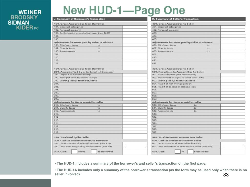New HUD-1—Page One