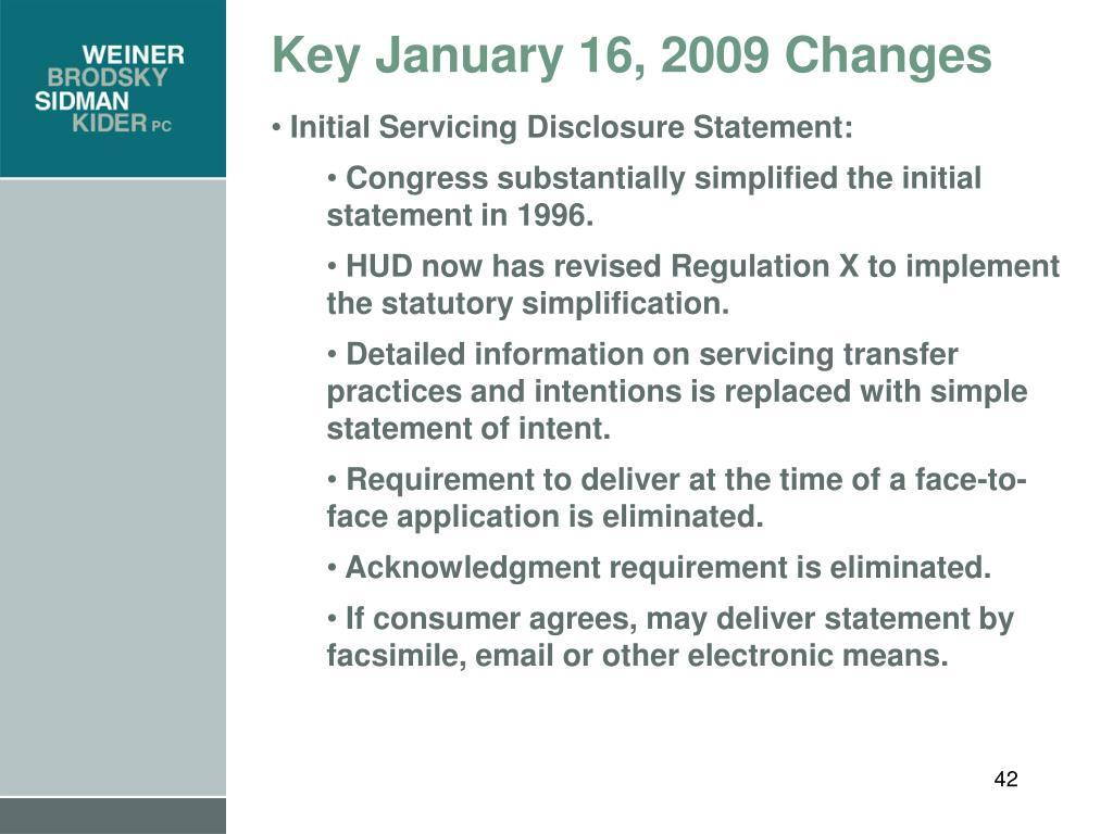 Key January 16, 2009 Changes