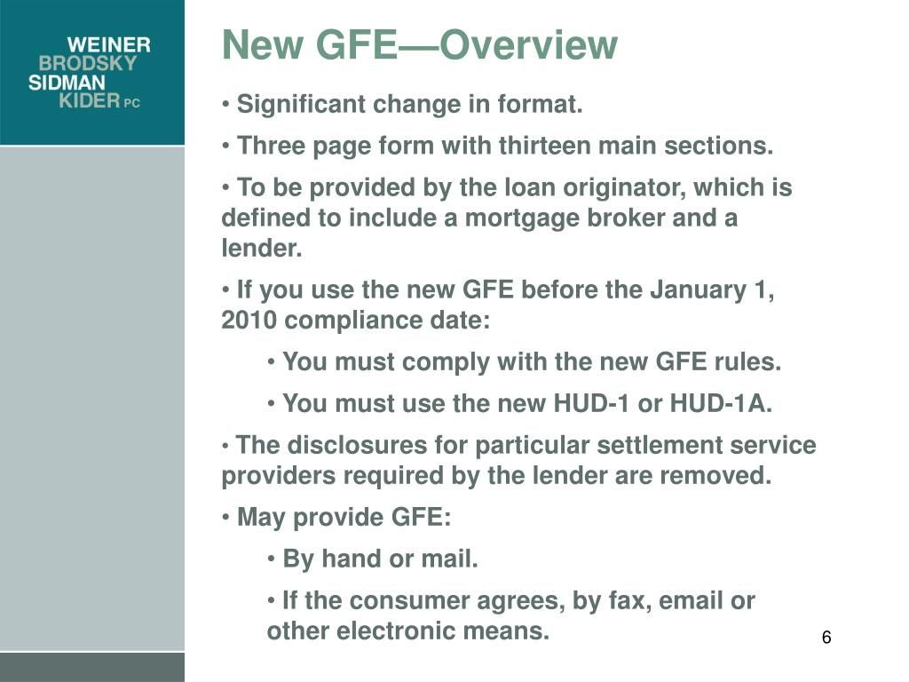 New GFE—Overview