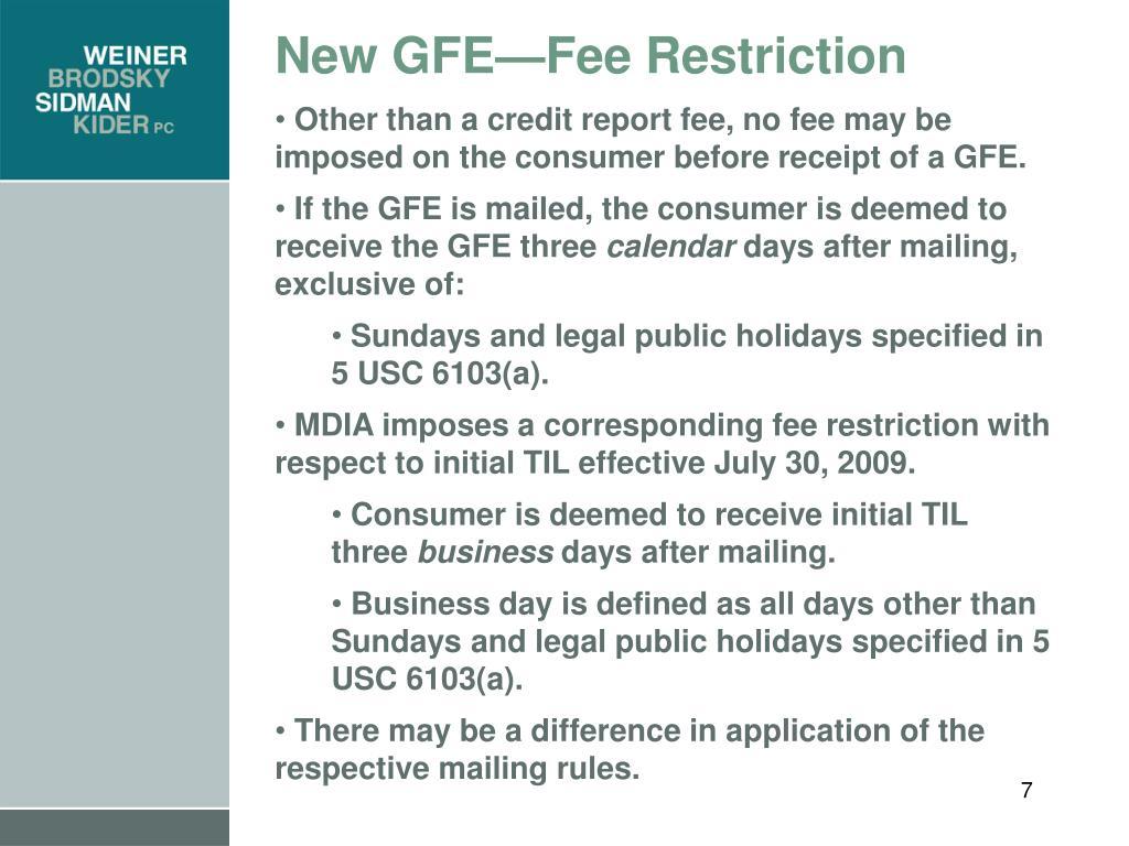 New GFE—Fee Restriction