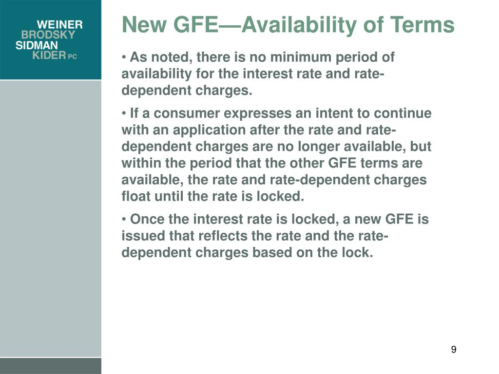 New GFE—Availability of Terms