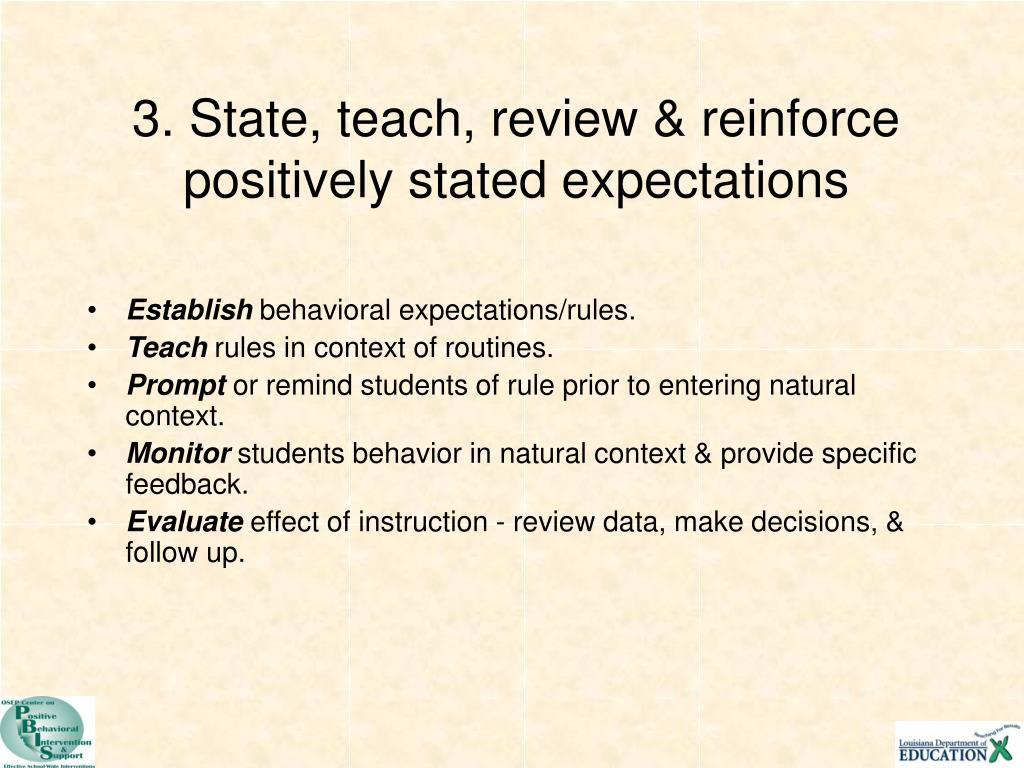3. State, teach, review & reinforce positively stated expectations