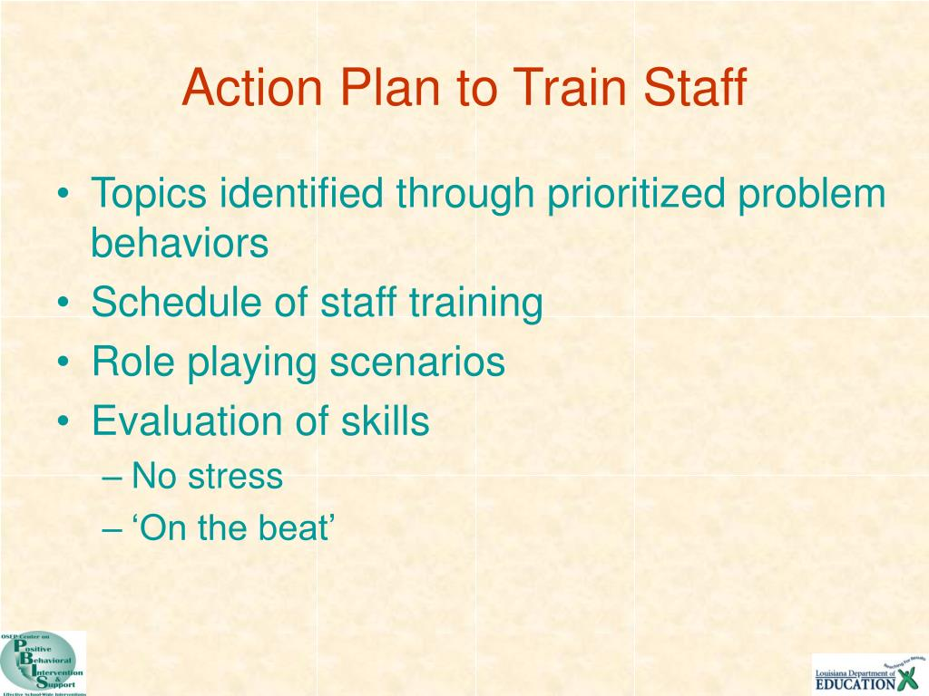 Action Plan to Train Staff