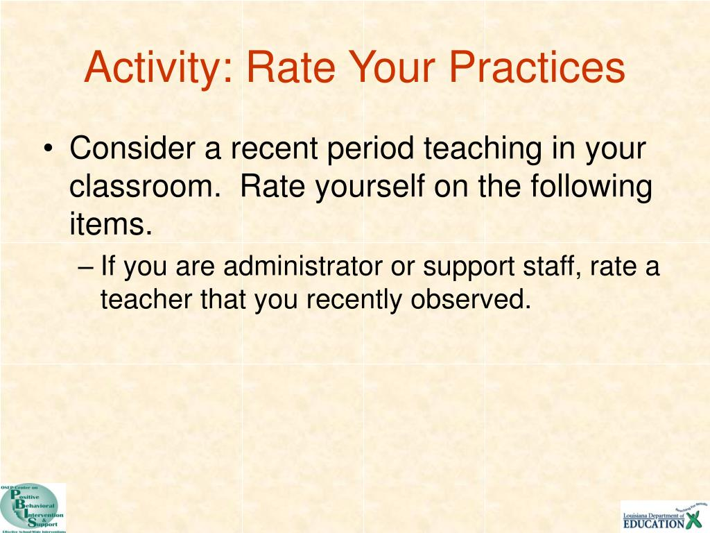 Activity: Rate Your Practices