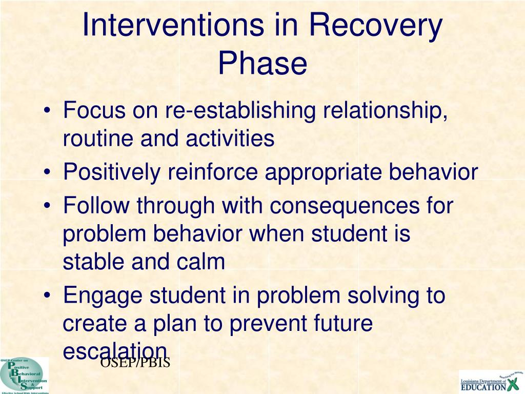 Interventions in Recovery Phase