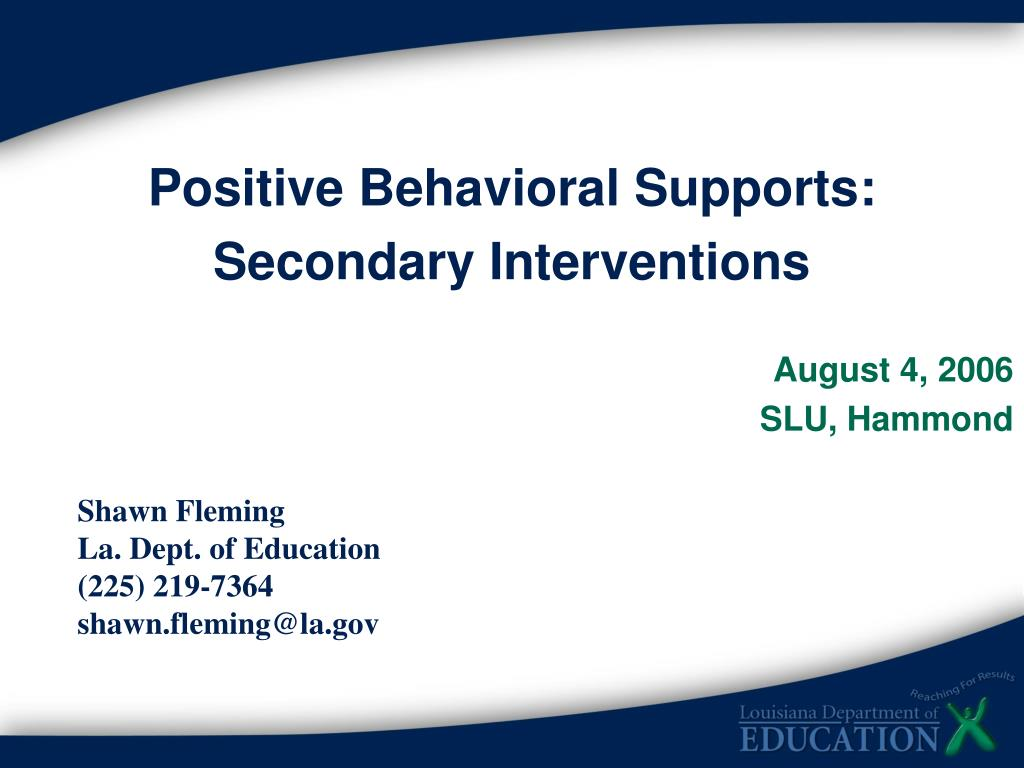 Positive Behavioral Supports: