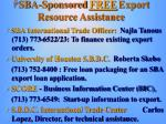 sba sponsored free export resource assistance