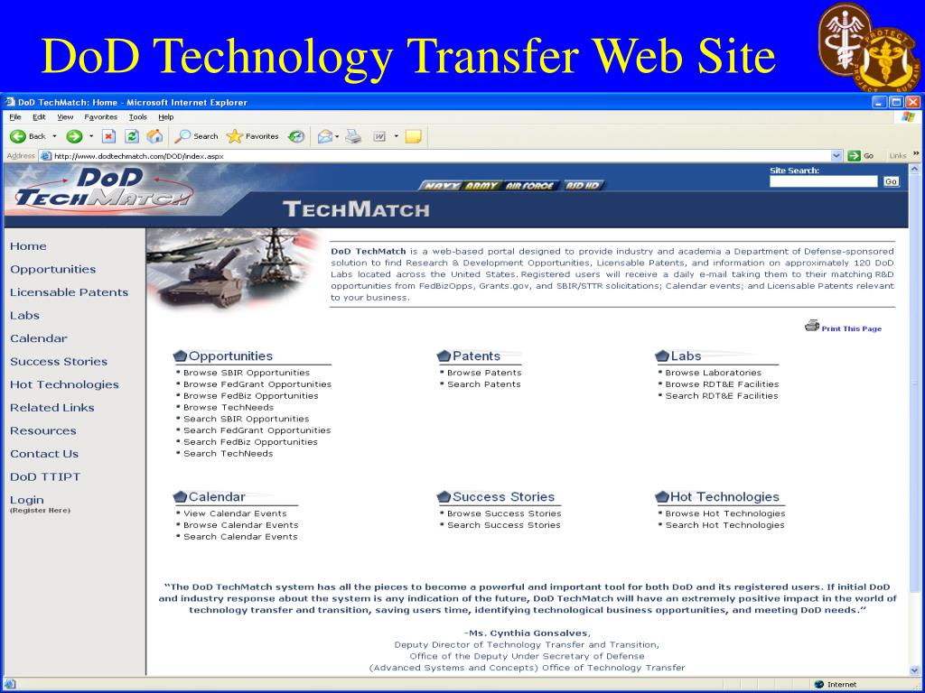 DoD Technology Transfer Web Site